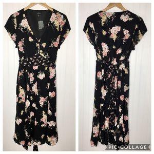 Torrid Black Floral Mixed Print Midi Dress 10